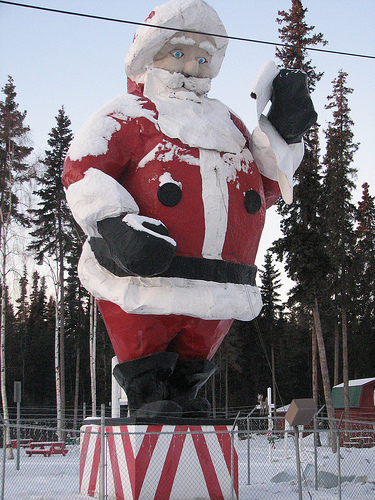 A giant Santa Claus in North Pole, Alaska.