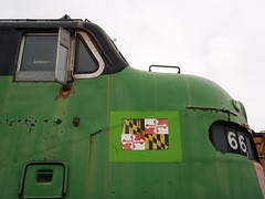 MARC #66 at Museum of Transportation_PB100281 (Wampa-One) Tags: green train engine 66 marc locomotive stlouismo museumoftransportation e8a a1aa1a bulldognose emde8 marc66 emd1954dmodele8a formercbqunit marylandarearegionalcommutertrainservice emdeunit