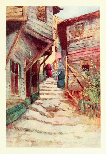 012-Una tipica calle del antiguo barrio turco- Constantinople painted by Warwick Goble (1906)