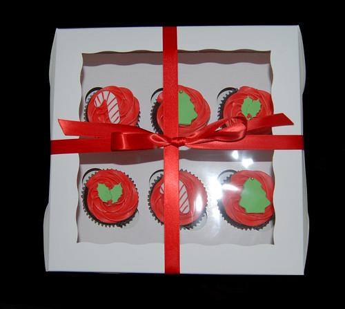 half dozen cupcake gift boxes Christmas designs