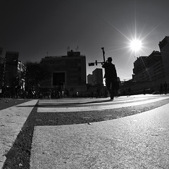 IN A MOMENT (ajpscs) Tags: street people bw sun silhouette japan walking japanese tokyo nikon shinjuku crossing stripes streetphotography pedestrian zebra  nippon  intersection  bigcity existence daytoday fisheyelens routine commonplace d300 105mm  busystreet  ajpscs bwartaward ksaten