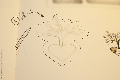 Sketch for sponge rubber stamp