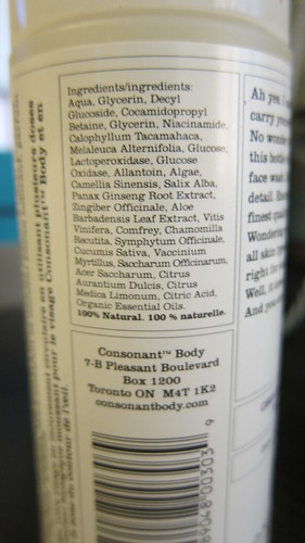 Consonant Face Wash Citrus Bergamot ingredient list
