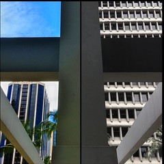 Century Squared (billsoPHOTO) Tags: blue urban building mobile architecture square concrete grid hawaii downtown phone cross unitedstates oahu palmtree squareformat honolulu normal colum iphone bsquare diptic centurysquare iphone4 iphoneography instatag instagram instagramapp uploaded:by=instagram geotaggedhawaii foursquare:venue=4bbce274a8cf76b0fe17b1fd
