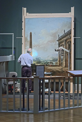 Art conservator at work, at the Saint Louis Art Museum, in Saint Louis, Missouri, USA