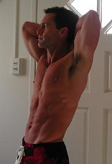 Stretch (riptjock) Tags: shirtless hot male jock pecs muscle muscular biceps abs stud