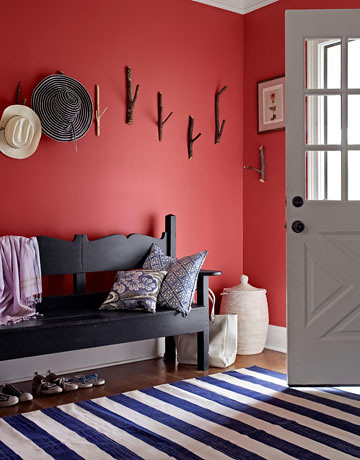 Country Entryway painted red