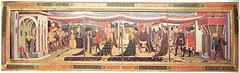 The marriage of Broccaccio Adimari 15thc (medievalarchive) Tags: wedding music house male hat female bench fur town italian embroidery balcony flag trumpet instrument hood cloak gown cloth canopy tabard brocade chaperon kirtle c15th particolour hatlessmale footedhose