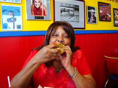 Mommy at Hot Doug's