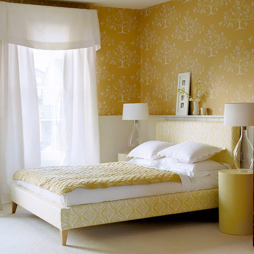 Modern tree wallpaper: Lovely yellow + white bedroom + Cole & Son 'Fan Tree'