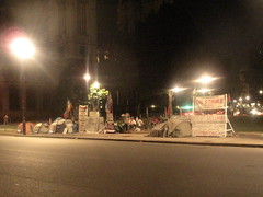 Protesters set up camp at Parliament square