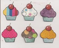 Cupcake inchies (angellea (glitterbug)) Tags: collage paper cherries cupcake swap inchies