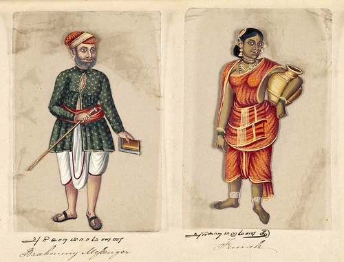 006- Mensajero brahmán y su mujer-Seventy two specimens of castes in India 1837