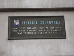 Photo of St. Thomas' Hospital, first printed bible in English, and Mary Ann Cross (see George Eliot) grey plaque