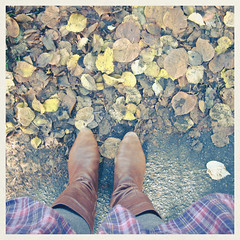 No.361 (_cassia_) Tags: autumn brown feet leaves october dress floor boots ground tights thursday 8th 365daysincolour