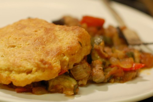 Ratatouille with sausage and cornbread biscuit topping by Eve Fox, Garden of Eating blog