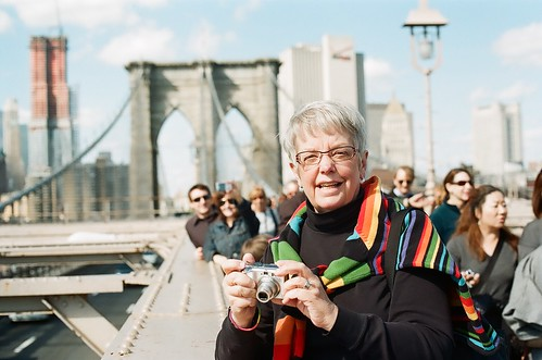 Mom on the Brooklyn Bridge