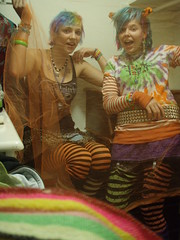Tiffani and I being weird... haha (Megan is me...) Tags: christmas pink orange playing colour halloween colors stockings up hair effects clothing rainbow colorful neon dress bright turquoise or meg megan ears tights before special clothes fishnets colored nightmare treat trick tigger atomic punky striped dyed napalm tiffani tiffy halloweenish