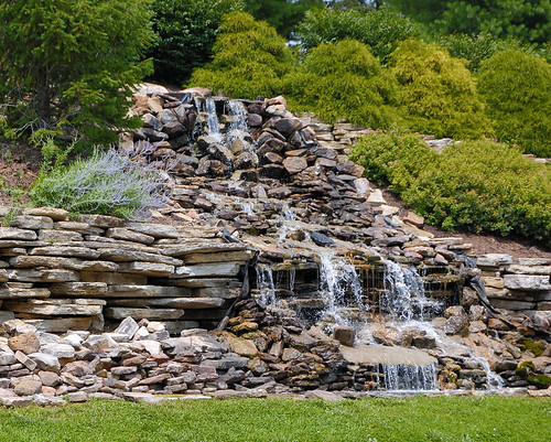 Artificial waterfall, at the National Shrine of Our Lady of the Snows, in Belleville, Illinois, USA