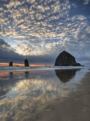 destination (richietown) Tags: ocean sunset reflection topf25 topv111 oregon canon topv333 bravo cannonbeach hdr 30d richietown