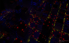 City Night Lights (groovelock) Tags: city traffic render recursion generative recursive beacon raytrace globalillumination structuresynth