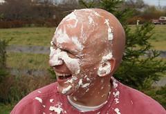 Joe Muzzi covered in Shaving Cream