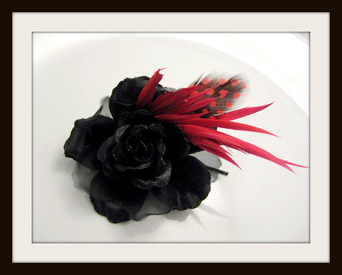 Black Rose Hair Flower with Ruby Red Feathers