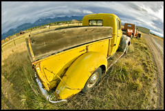Old Yeller Pickup (Mark Payton Photography) Tags: old ford field yellow canon eos montana pickup wideangle fisheye dirtroad ronan 1ds canonef15mmf28fisheye markpayton canon15mmf28 missoulaphotographer fisheyelenscanon15mmf4canonef15mmf4wideangle markpaytonphotography