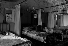 (fiendicus) Tags: bw black abandoned cane hospital bed empty hill curtains ward blake asylum derelict croydon mental browning coulsdon medicate canehill fiendicus