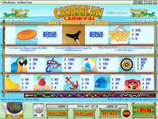free Baby Boomers Cash Cruise slot Carnival Caribbean mini symbols