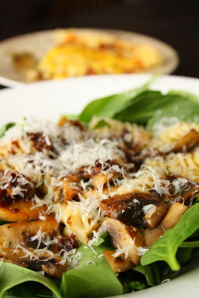 Warm Spinach Pasta Salad