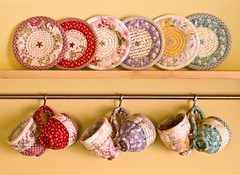 Quilted Teacup & Saucer Sets (PatchworkPottery) Tags: tea handmade crafts fabric quilted patchwork teacup applique embroidered saucer zakka