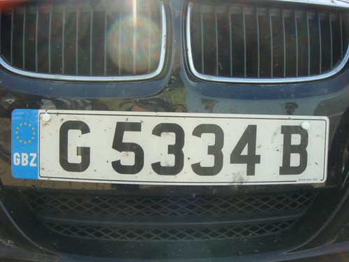License plate, Gibraltar (UK)