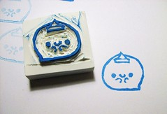 Obake Ghost Hand Caved Stamp (Miss Thundercat) Tags: cute handmade ghost stamp kawaii rubberstamp obake handcarved