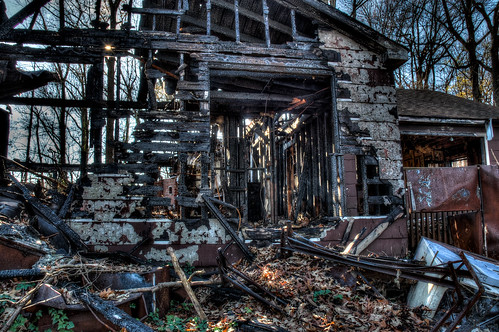 Burned down house