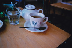 Teacup (Julie Lavelle) Tags: food toronto cup breakfast lunch 50mm restaurant mugs cafe yum chairs tea iso400 tasty spoon delicious pot brunch dundas saucer omelette savinggrace pentaxme