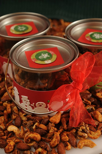Fire and Ice Spiced nuts, in gift buckets