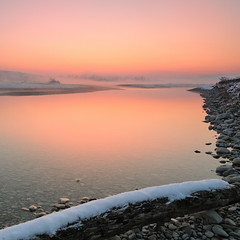 "Sunset e bruma (diomede2008) Tags: pink winter sunset italy orange reflection nature water fog reflections river landscape mirror nikon bravo europe veneto piave abigfave nikond300 flickrestrellas quarzoespecial heavymist ""nikonflickraward"" piaveriver diomede2008"