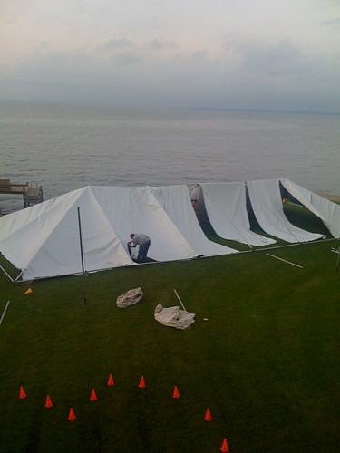 Planning began early as tent weddings are logistically difficult