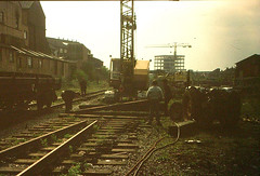 14 - Fishponds Station 1960s - workers pulling up the track (emmdee) Tags: station bristol railway demolition slides oldslides fishponds fishpondsstation