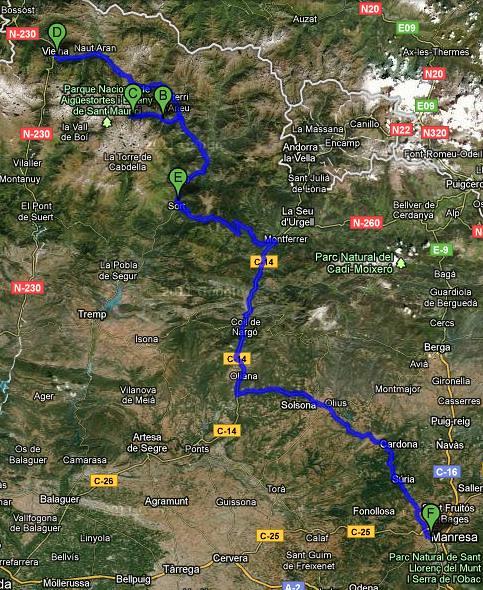 00 mapa 490km per carreteres comarcals locals i nacionals yuhuuu 9h de cotxe