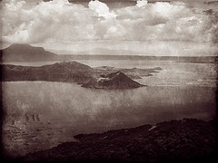 Enduring but Unpredictable (EXPLORE #176 JULY 2, 2009) (Gilbert Rondilla) Tags: camera lake color texture nature photomanipulation photoshop vintage point polaroid volcano photo shoot tritone philippines explore crater caldera gilbert filipino duotone digicam tagaytay taal notmycamera own pinoy borrowedcamera imago pns taalvolcano tagaytaycity rondilla i733 notmyowncamera polaroidi733 imagoismthursday imagoism gilbertrondilla gilbertrondillaphotography luisianian polaroid7mpdigitalcamera