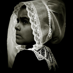 Procession (Christine Lebrasseur) Tags: portrait people blackandwhite france art 6x6 girl canon child anonymous beaumont occitanie 500x500 flibre winner500 allrightsreservedchristinelebrasseur 09072009