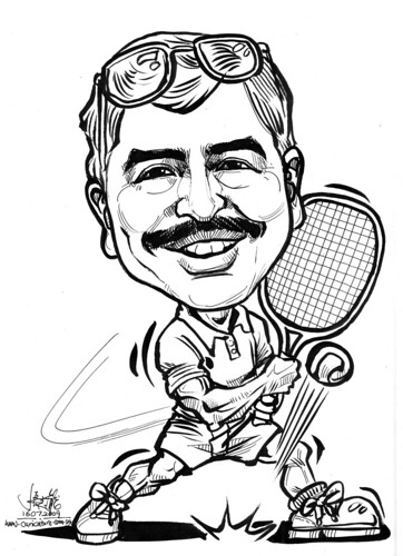 Caricature of a tennis player in inkand brush