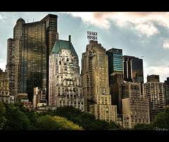 Central Park West (pbredow) Tags: new york city nyc newyorkcity clouds plane canon buildings manhatten nohdr