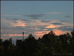 Outside my window (Kirsten M Lentoft) Tags: light chimney sky church clouds denmark glostrup kirstenmlentoft