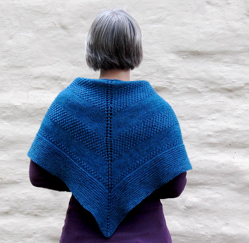 textured shawl from behind