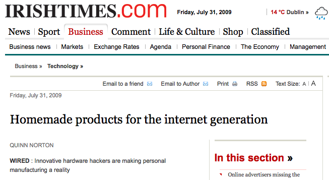 Homemade products for the internet generation - The Irish Times - Fri, Jul 31, 2009