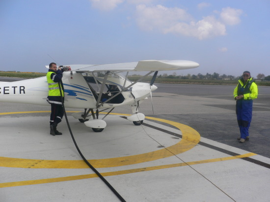 Topping up with Avgas before our return journey