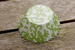 green and white cupcake liner